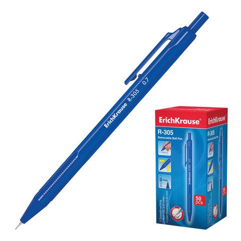 Ручка шариковая автомат. ERICH KRAUSE R-305, корпус синий, узел 0,7мм, линия 0,35мм, синяя, 39055  Код: 142283