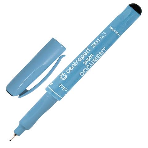 Ручка капиллярная CENTROPEN Document, трехгранная, толщина письма 0,3мм, черная, 2631/0,3  Код: 142294