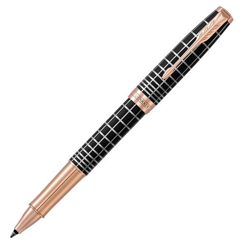 Ручка-роллер подарочная PARKER Sonnet Premium Brown Rubber PGT, коричн., позол. дет, черная, 1931482  Код: 142335