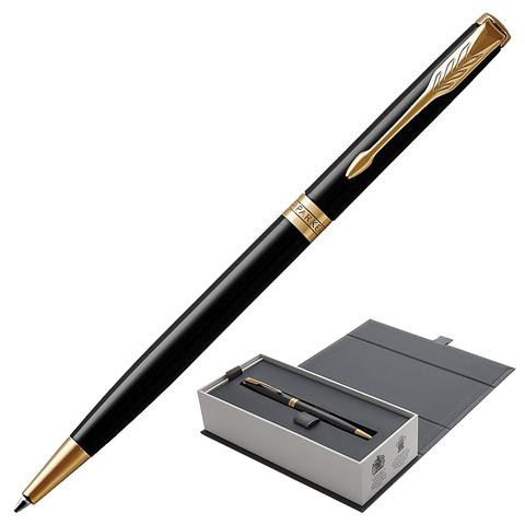 Ручка подарочная шариковая PARKER Sonnet Core Lacquer Black GT Slim, тонкая, черн.глянц, чер,1931498  Код: 142340