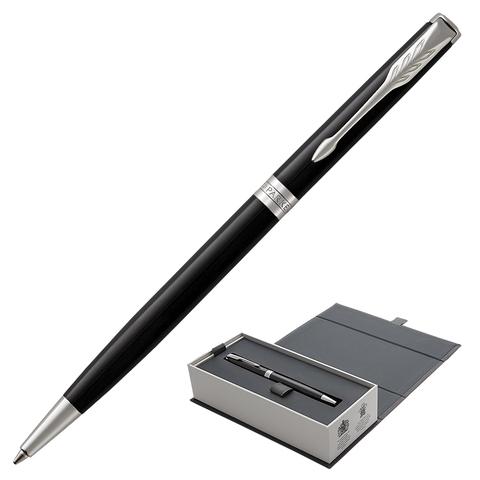 Ручка подарочная шариковая PARKER Sonnet Core Lacquer Black CT Slim, тонкая, черн.глянц, чер,1931503  Код: 142344