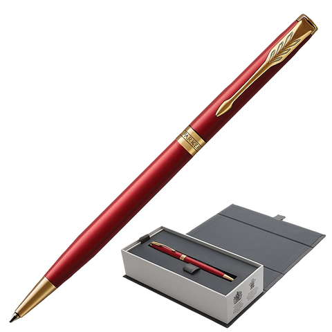 Ручка подарочная шариковая PARKER Sonnet Core Intense Red Lacquer GT Slim, тонкая, красн,чер,1931477  Код: 142348