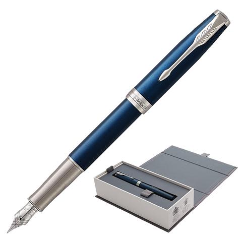 Ручка подарочная перьевая PARKER Sonnet Core Subtle Blue Lacquer CT, синий глянц. лак, черн, 1931533  Код: 142349