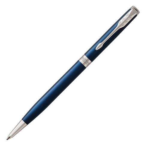 Ручка подарочная шариковая PARKER Sonnet Core Subtle Blue Lacquer CT Slim, тонкая,синий, чер,1945365  Код: 142352