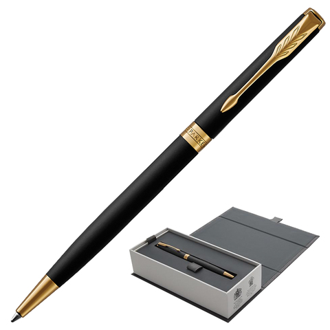 Ручка подарочная шариковая PARKER Sonnet Core Matt Black GT Slim, тонкая, черн.мат.лак, чер, 1931520  Код: 142360
