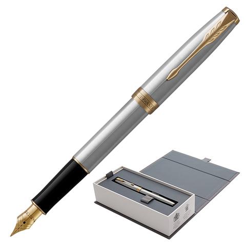 Ручка подарочная перьевая PARKER Sonnet Core Stainless Steel GT, серебрист., позол.дет, чер, 1931504  Код: 142361