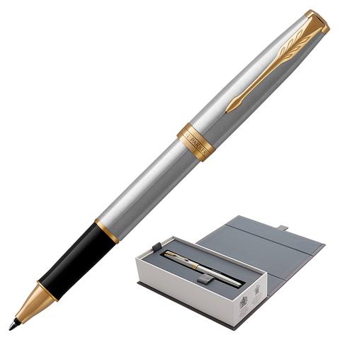 Ручка-роллер подарочная PARKER Sonnet Core Stainless Steel GT, серебрист, позолоч.детали,чер,1931506  Код: 142362