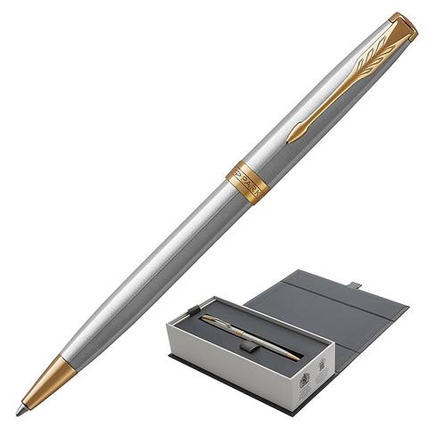 Ручка подарочная шариковая PARKER Sonnet Core Stainless Steel GT, серебрист, позол.дет, чер, 1931507  Код: 142363