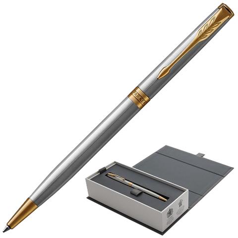 Ручка подарочная шариковая PARKER Sonnet Core Stainless Steel GT Slim, тонкая, серебрист,чер,1931508  Код: 142364