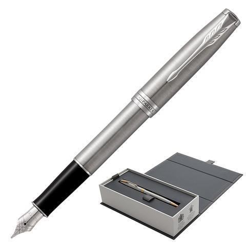Ручка подарочная перьевая PARKER Sonnet Core Stainless Steel CT, серебрист., паллад.дет, чер,1931509  Код: 142365