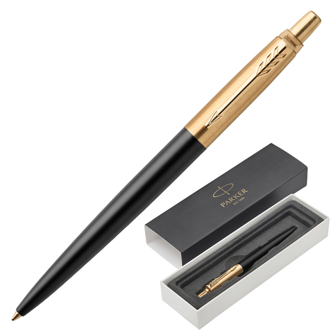 Ручка подарочная шариковая PARKER Jotter Premium Bond Street Black GT, черный, позол.дет,синий,1953202  Код: 142369