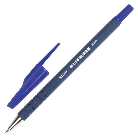 Ручка шариковая STAFF, корпус прорезиненный синий, узел 0,7мм, линия письма 0,35мм, синяя, 142397  Код: 142397