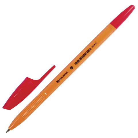 Ручка шариковая BRAUBERG (Брауберг) X-333 Orange, корпус оранжевый, узел 0,7мм, линия 0,35мм, красная, 142411  Код: 142411