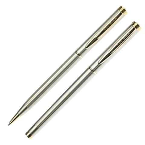 Набор PIERRE CARDIN (Пьер Карден) шарик.ручка и ручка роллер, корп.серебр., латунь, PC0801BP/RP, син  Код: 142464