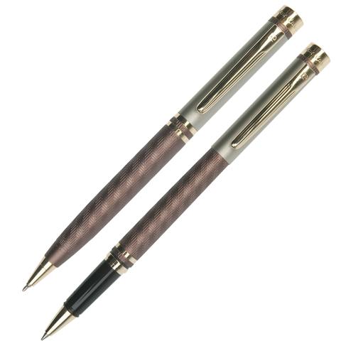 Набор PIERRE CARDIN (Пьер Карден) шарик.ручка и ручка роллер, корп.коричн., латунь, PC0824BP/RP, син  Код: 142465