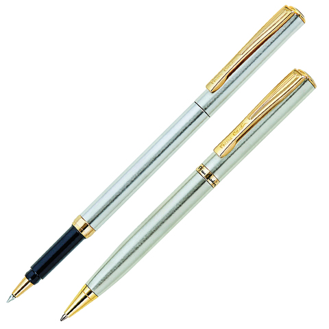 Набор PIERRE CARDIN (Пьер Карден) шарик.ручка и ручка роллер, корп.серебр., латунь, PC0865BP/RP, син  Код: 142469