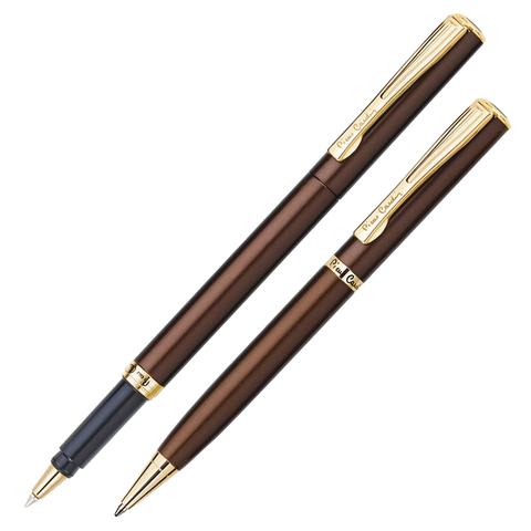 Набор PIERRE CARDIN (Пьер Карден) шарик.ручка и ручка роллер, корп. коричневый, латунь, PC0866BP/RP, син  Код: 142470