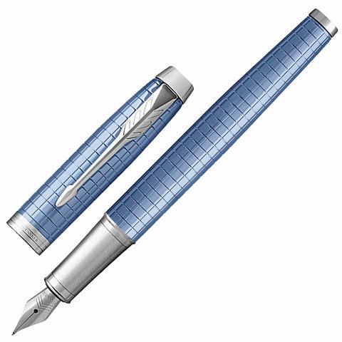 Ручка подарочная перьевая PARKER IM Premium Blue CT, голуб., гравир., хромир. детали, синяя, 1931688  Код: 142504