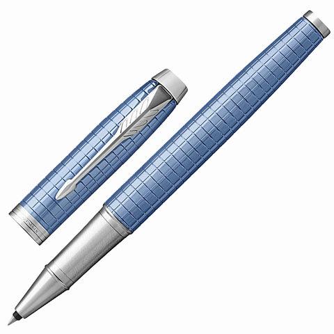 Ручка-роллер подарочная PARKER IM Premium Blue CT, голуб., гравир., хромир. детали, черная, 1931690  Код: 142505