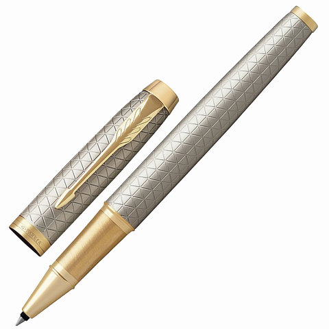 Ручка-роллер подарочная PARKER IM Premium Warm Silver GT, серебр., гравир, позол.дет, черная,1931686  Код: 142508