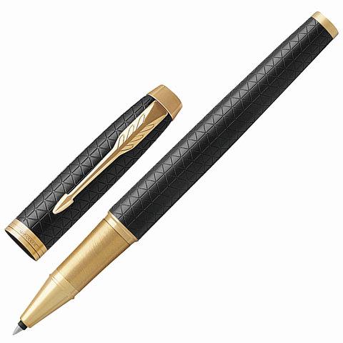 Ручка-роллер подарочная PARKER IM Premium Black GT, черный, гравир., позолоч. детали, черная, 1931660  Код: 142514