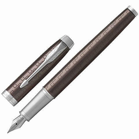Ручка подарочная перьевая PARKER IM Premium Brown CT, коричн., гравир., хром. детали, синяя, 1931676  Код: 142516