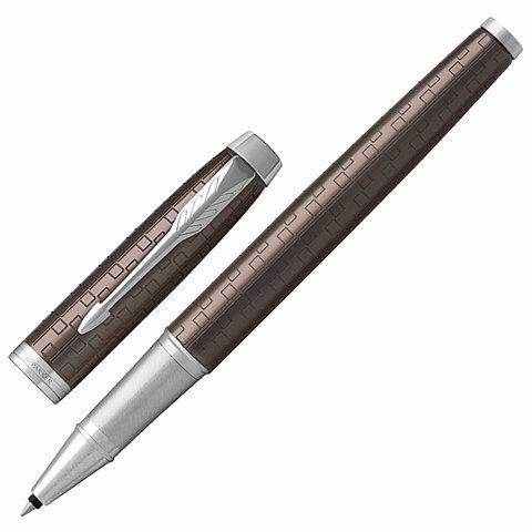 Ручка-роллер подарочная PARKER IM Premium Brown CT, коричн., гравир., хром. детали, черная, 1931678  Код: 142517