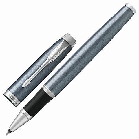 Ручка-роллер подарочная PARKER IM Core Light Blue Grey CT, серо-голуб.лак, хром.дет, черная, 1931662  Код: 142535