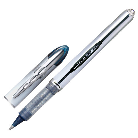 Ручка-роллер UNI-BALL (Япония) Vision Elite, корпус серый, 0,8мм, линия 0,6мм, синяя, UB-200 (08)  Код: 142613