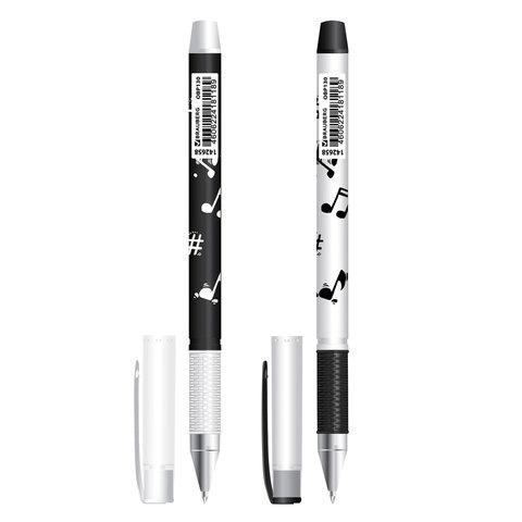Ручка шариковая масляная с грипом BRAUBERG (Брауберг) BLACK&WHITE Melody, 0,7мм, линия 0,35мм, синяя, OBP130  Код: 142658