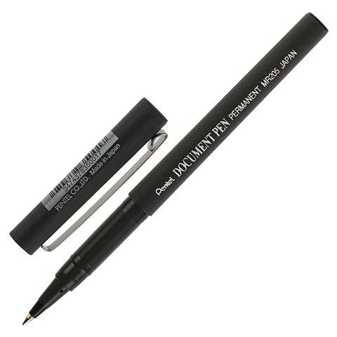 Ручка-роллер PENTEL (Япония) Document Pen, корпус черный, узел 0,5мм, линия 0,25мм, черная, MR205  Код: 142676