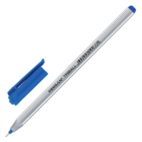 Ручка шариковая масляная PENSAN Triball, трехгранная, узел 1мм, линия 0,5мм, синяя, 1003  Код: 142703