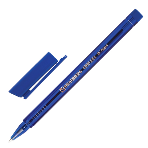 Ручка шариковая масляная BRAUBERG (Брауберг) Marine, корпус тониров. синий, 0,7мм, линия 0,3мм, синяя, OBP133  Код: 142709