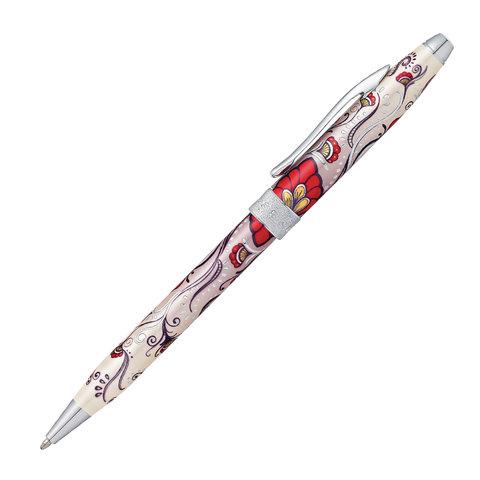"""Ручка подарочная шариковая CROSS Botanica """"Красная Колибри"""", лак, латунь, хром, черная, AT0642-3  Код: 142954"""