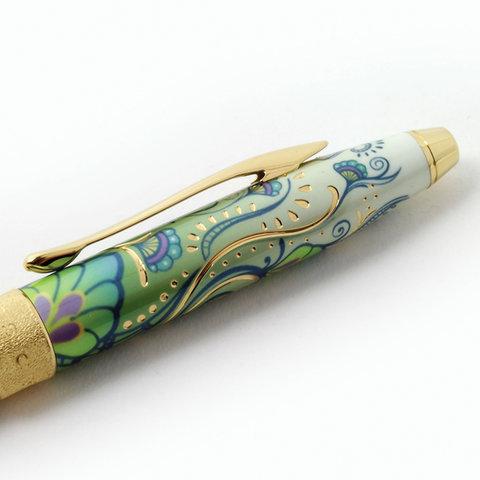 """Ручка подарочная шариковая CROSS Botanica """"Зеленая Лилия"""", лак, латунь, позолота, черная, AT0642-4  Код: 142956"""