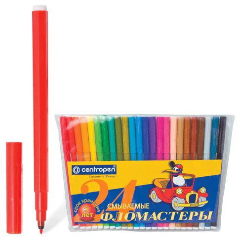 Фломастеры CENTROPEN 24 цветов, ПИНГВИНЫ, смываемые, вентилируемый колпачок, полибег, 7790/24-86  Код: 150058