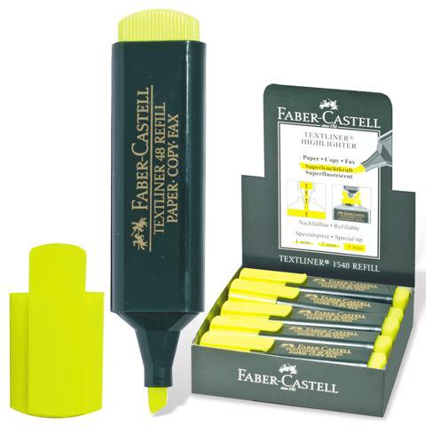 """Текстмаркер FABER-CASTELL """"1548"""", скошенный наконечник 1-5мм, флюор. желтый, FC154807  Код: 150370"""