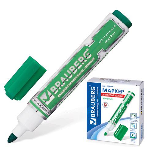 "Маркер для доски BRAUBERG (Брауберг) ""Neo"", с клипом, круглый наконечник 5 мм, зеленый, 150490  Код: 150490"