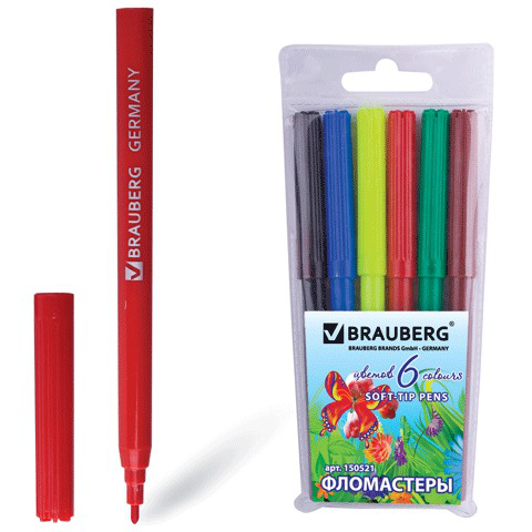 "Фломастеры BRAUBERG (Брауберг) ""Wonderful butterfly"", 6 цветов, вент.колп, пласт.упак, увелич срок службы, 150521  Код: 150521"