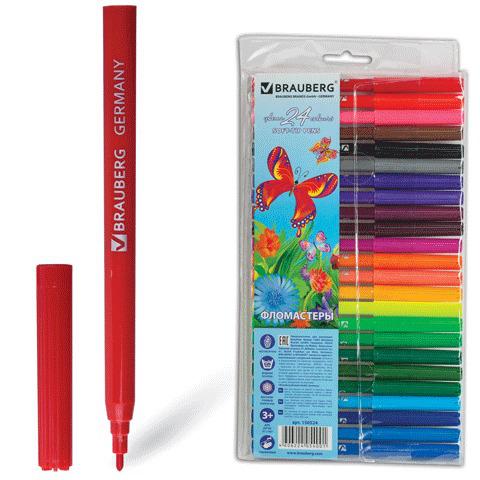 "Фломастеры BRAUBERG (Брауберг) ""Wonderful butterfly"", 24 цветов, вент.колп, пласт.упак., увелич срок службы,150524  Код: 150524"