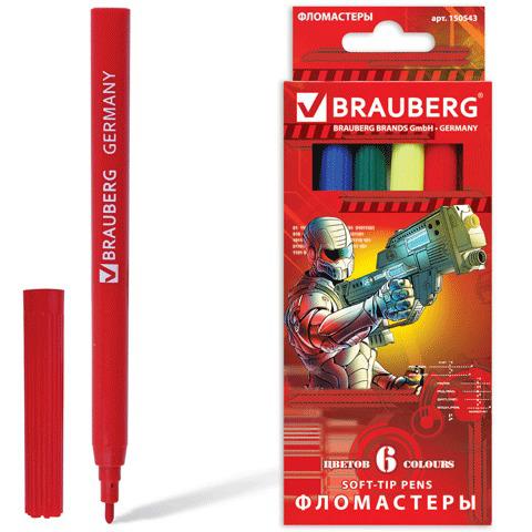 """Фломастеры BRAUBERG (Брауберг) """"Star Patrol"""", 6 цветов, вент.колп., карт. упаковка, увелич. срок службы, 150543  Код: 150543"""