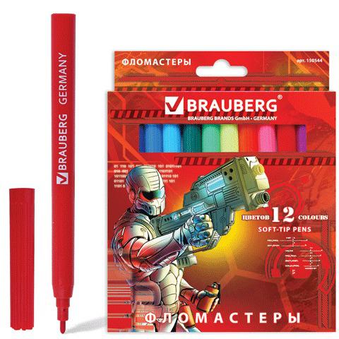 """Фломастеры BRAUBERG (Брауберг) """"Star Patrol"""", 12 цветов, вент.колп., карт. упаковка, увелич. срок службы, 150544  Код: 150544"""