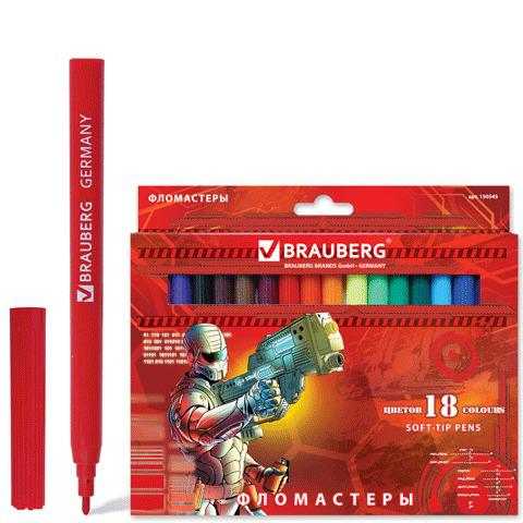 """Фломастеры BRAUBERG (Брауберг) """"Star Patrol"""", 18 цветов, вент.колп., карт. упаковка, увелич. срок службы, 150545  Код: 150545"""