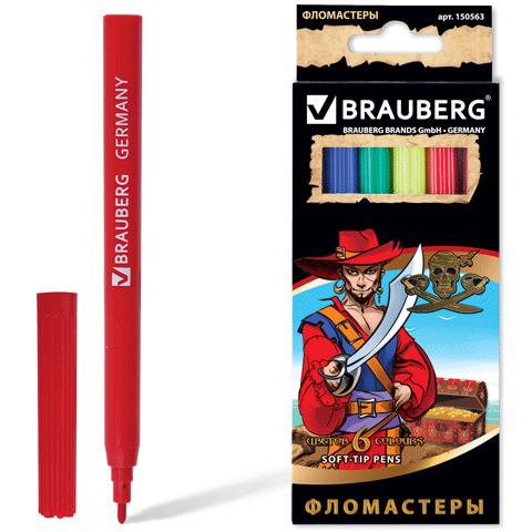 "Фломастеры BRAUBERG (Брауберг) ""Корсары"", 6 цветов, вент.колп, карт.упак. с зол. тиснением, 150563  Код: 150563"