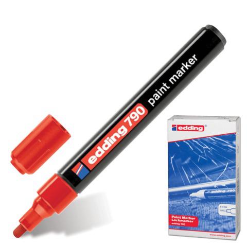 Маркер-краска лаковый EDDING 790, 2-4мм, круглый наконечник, пластиковый корпус, красный, E-790/2  Код: 150584