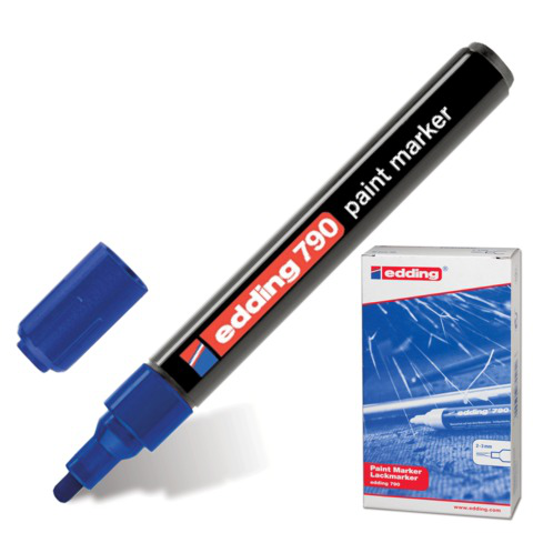 Маркер-краска лаковый EDDING 790, 2-4мм, круглый наконечник, пластиковый корпус, синий, Е-790/3  Код: 150585