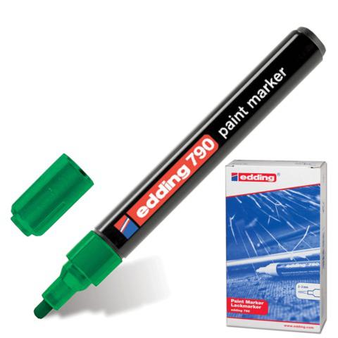 Маркер-краска лаковый EDDING 790, 2-4мм, круглый наконечник, пластиковый корпус, зеленый, E-790/4  Код: 150586