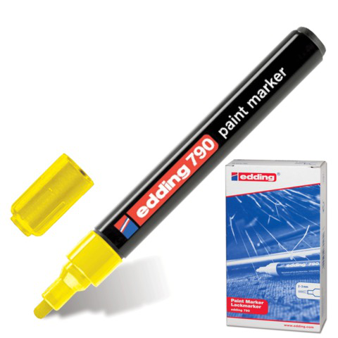 Маркер-краска лаковый EDDING 790, 2-4мм, круглый наконечник, пластиковый корпус, желтый, E-790/5  Код: 150587