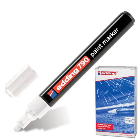Маркер-краска лаковый EDDING 790, 2-4мм, круглый наконечник, пластиковый корпус, белый, Е-790/49  Код: 150591