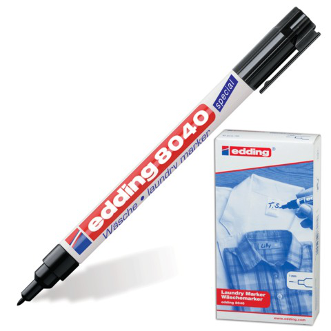 Маркер для ткани EDDING 8040, 1мм, кр.нак., устойчивый к стиркам и кипячению, черный, Е-8040/1  Код: 150593